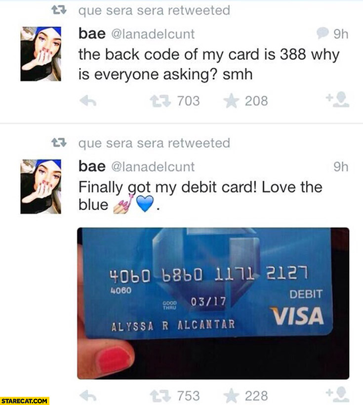 Finally got my debit card love the blue the back code is 388 why is everyone asking?