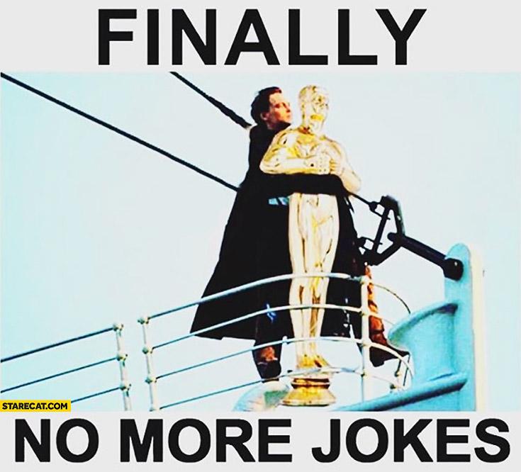 Finally no more jokes Leonardo DiCaprio with Oscar Titanic scene
