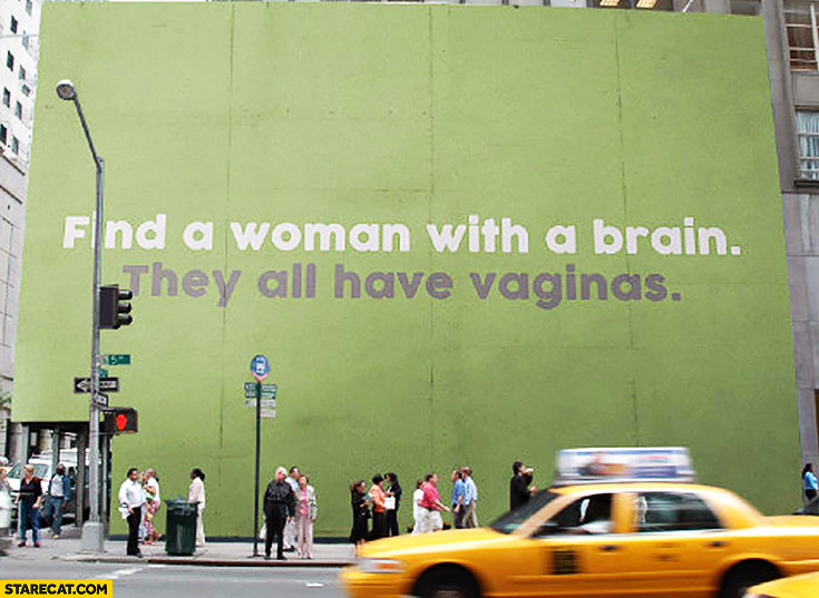 Find a woman with a brain they, all have vaginas street quote