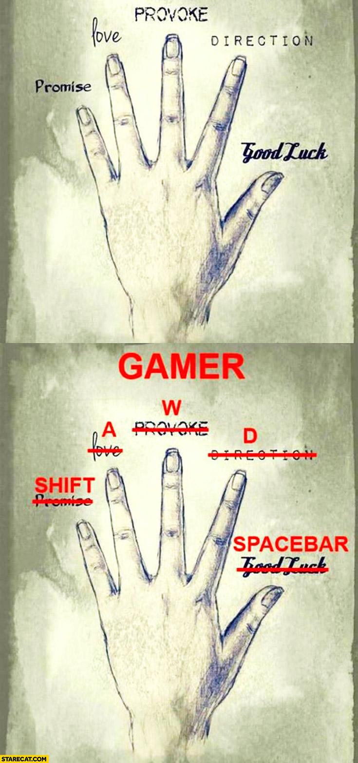 Fingers explained: promise, love, provoke, direction, good luck. Gamer: shift, A, W, D, spacebar