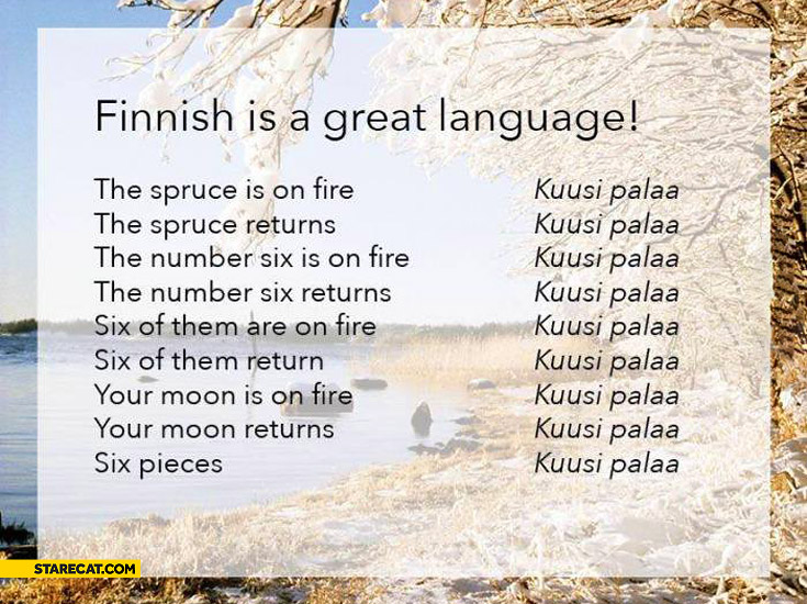 Finnish is a great language Kuusi Palaa