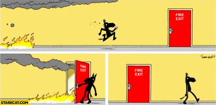 Fire Exit Door For The Fire To Exit The Building Comic