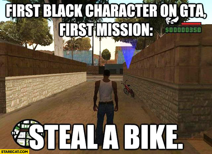 First black character on GTA first mission steal a bike