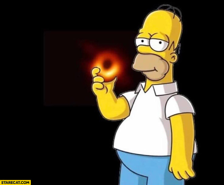 First image of black hole Homer Simpson eating a donut The Simpsons