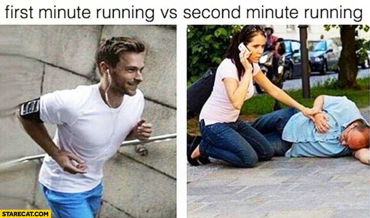 First minute running vs second minute running heart attack