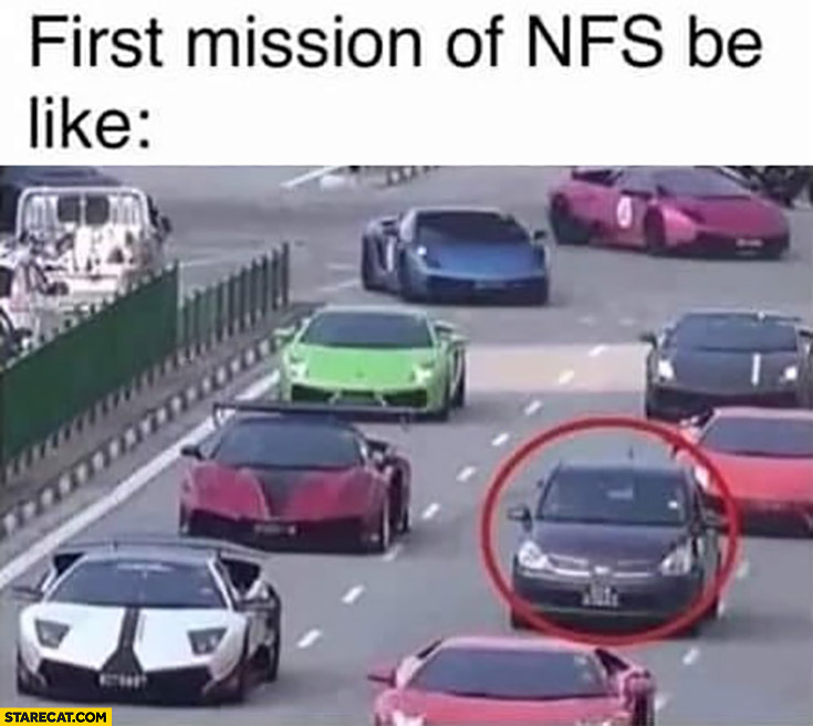 First mission of Need for Speed be like normal car vs supercars