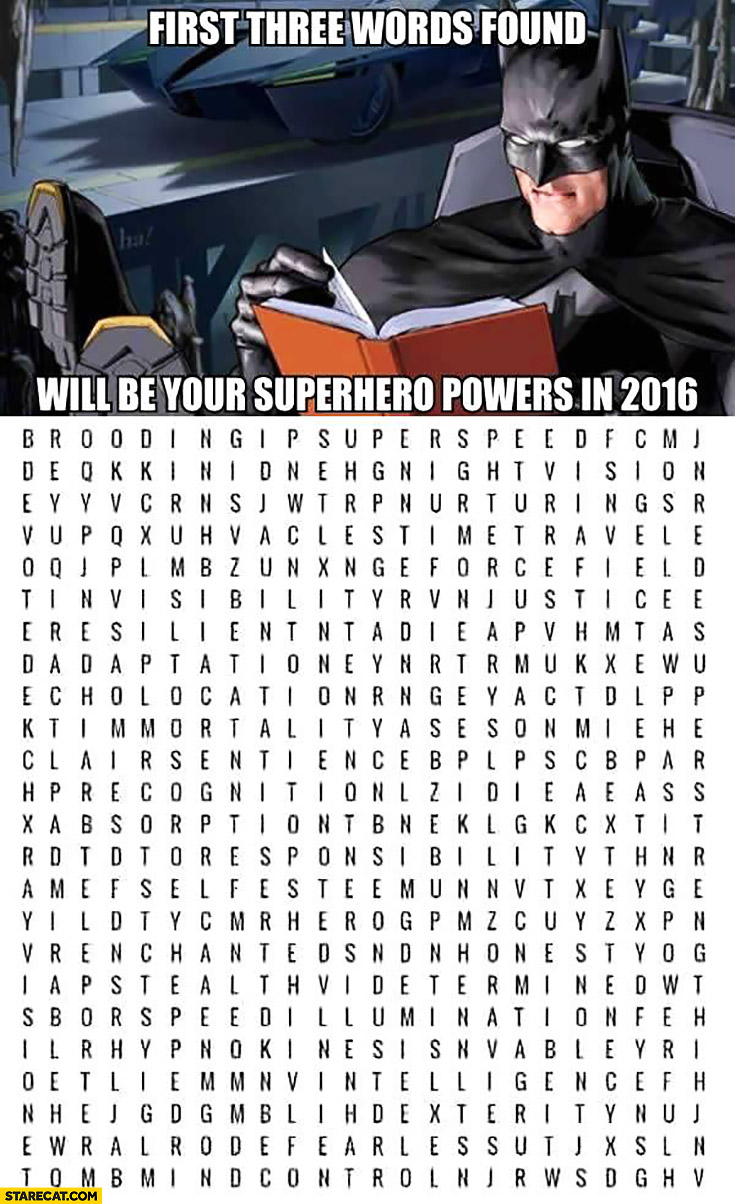 First three words found in the crosswords will be your superhero powers riddle