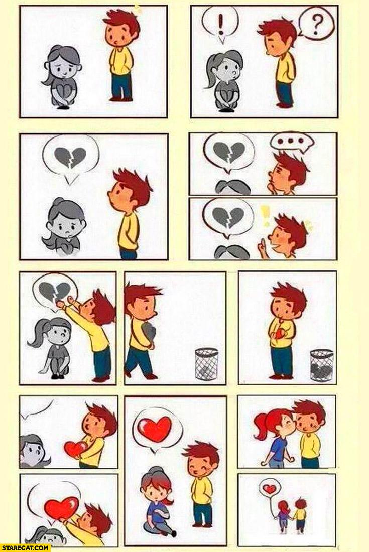 Fixed broken hearted girl comic