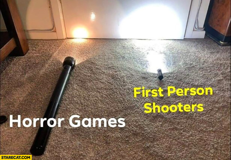 Flashlight horror games vs first person shooters comparison