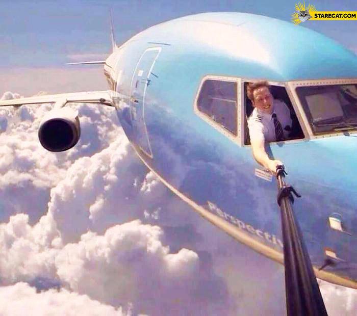 Flying airplane selfie