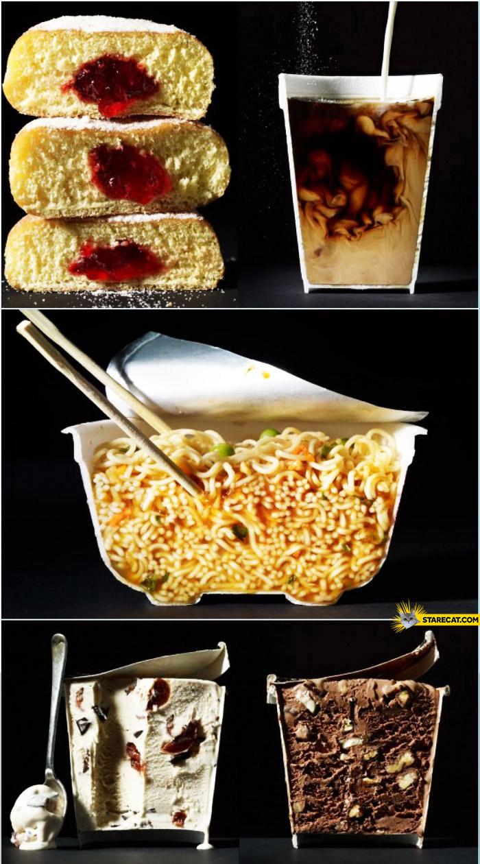 Food sliced in half inside drinks soup dessert