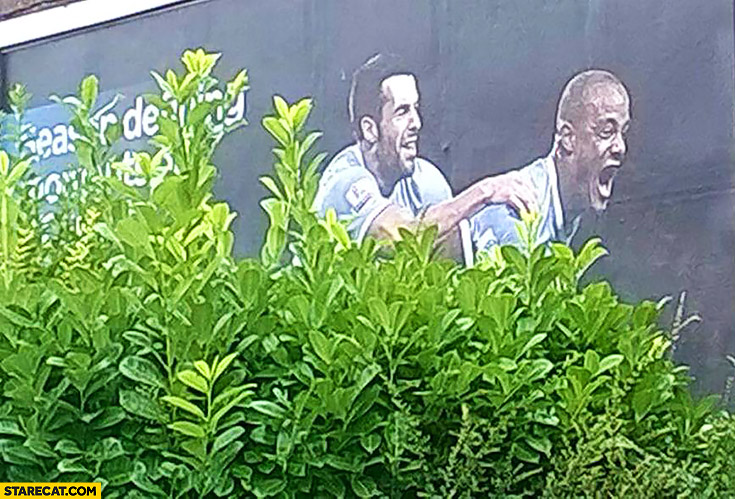 Football AD two men behind bushes fail