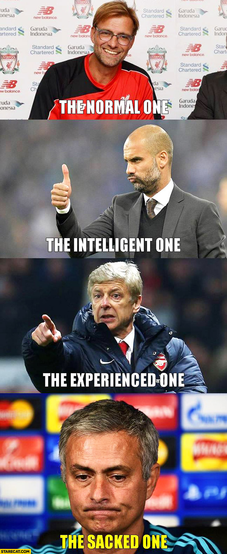 Football coaches: normal one, intelligent one, experienced one, sacked one