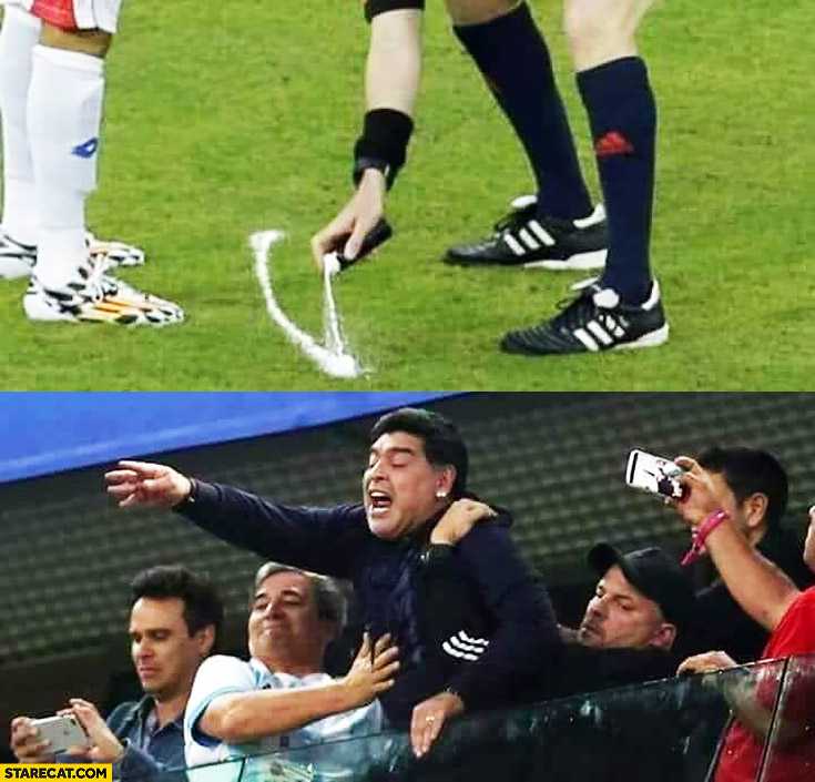 Football referee spaying white line, Maradona wants it thinks it's crack cocaine
