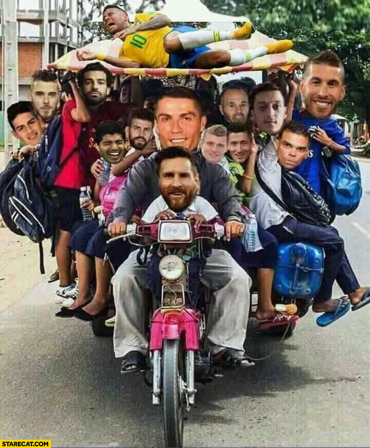 Footballers stars eliminated from World Cup coming home on a motorbike photoshopped
