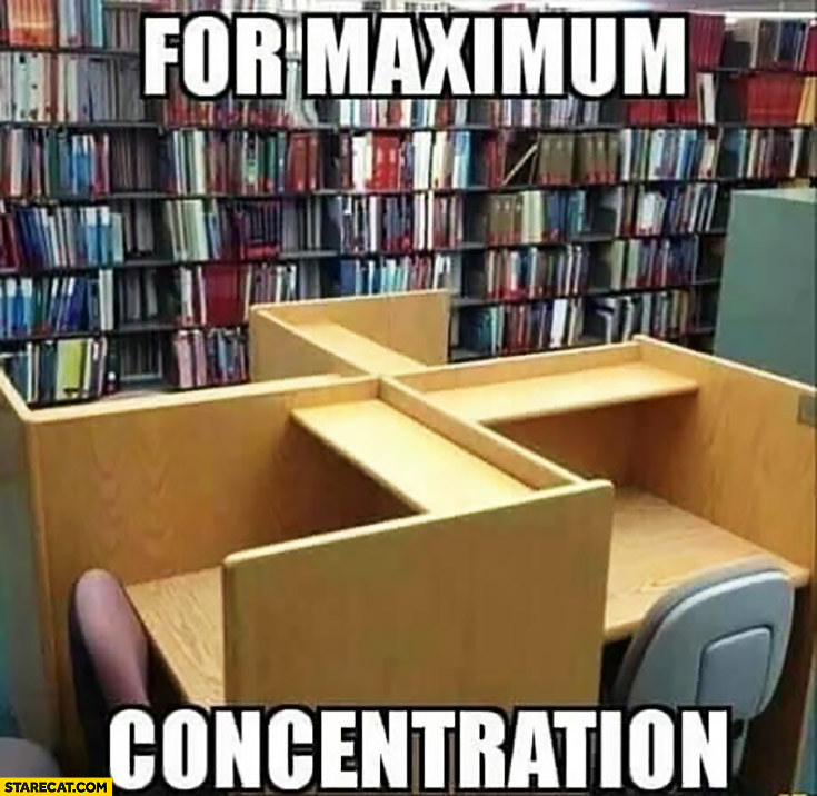 For maximum concentration desks ordered in a nazi sign