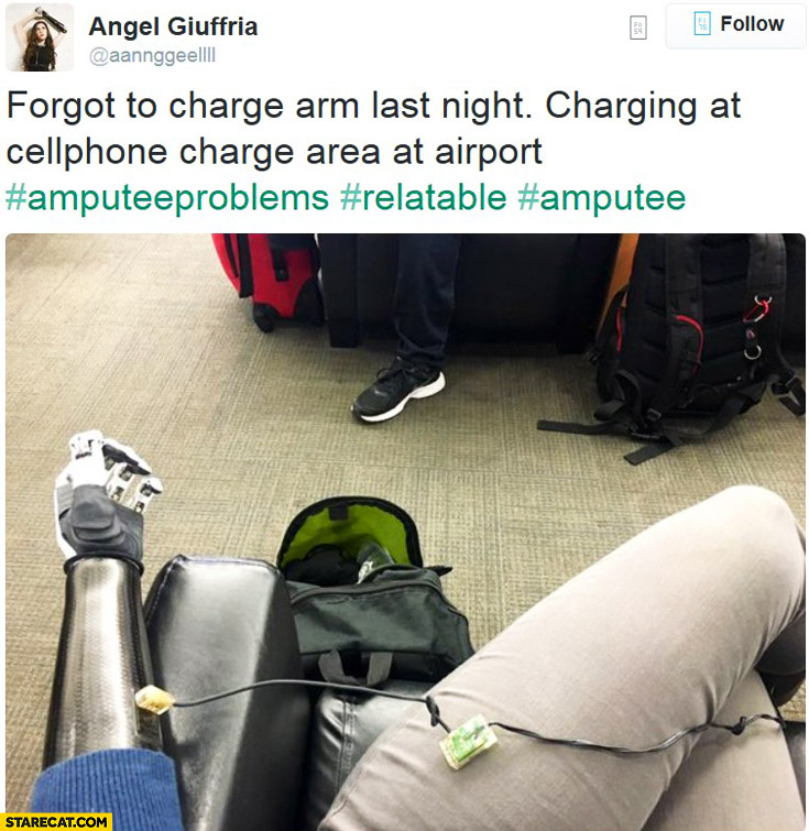 Forgot to charge arm last night charging at cellphone charge area at airport bionic girl Angel Giuffria