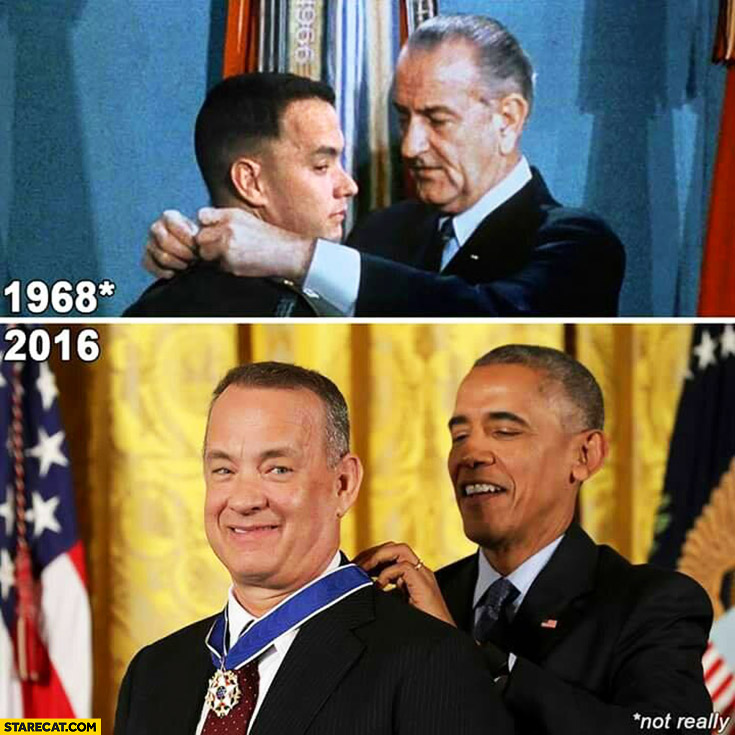Forrest Gump getting a medal in 1968 Tom Hanks getting a medal from Obama in 2016