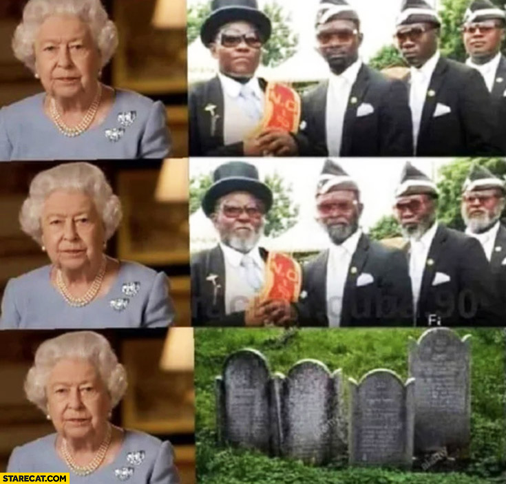 Four black men from funeral vs Queen Elizabeth