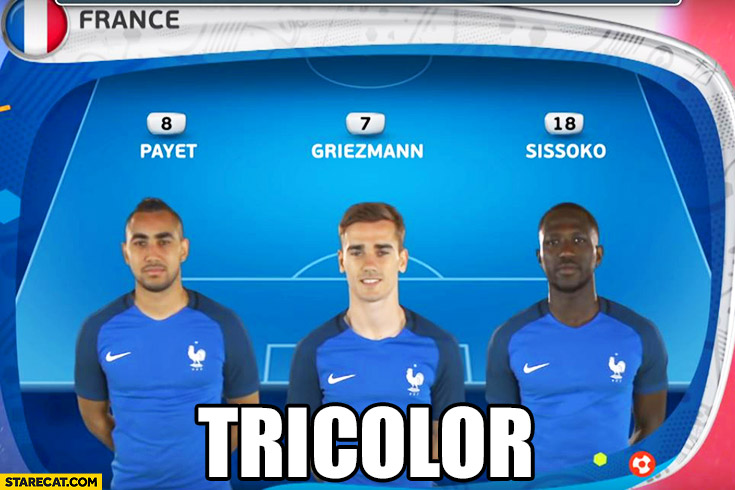 France football national team tricolor skin colour word play