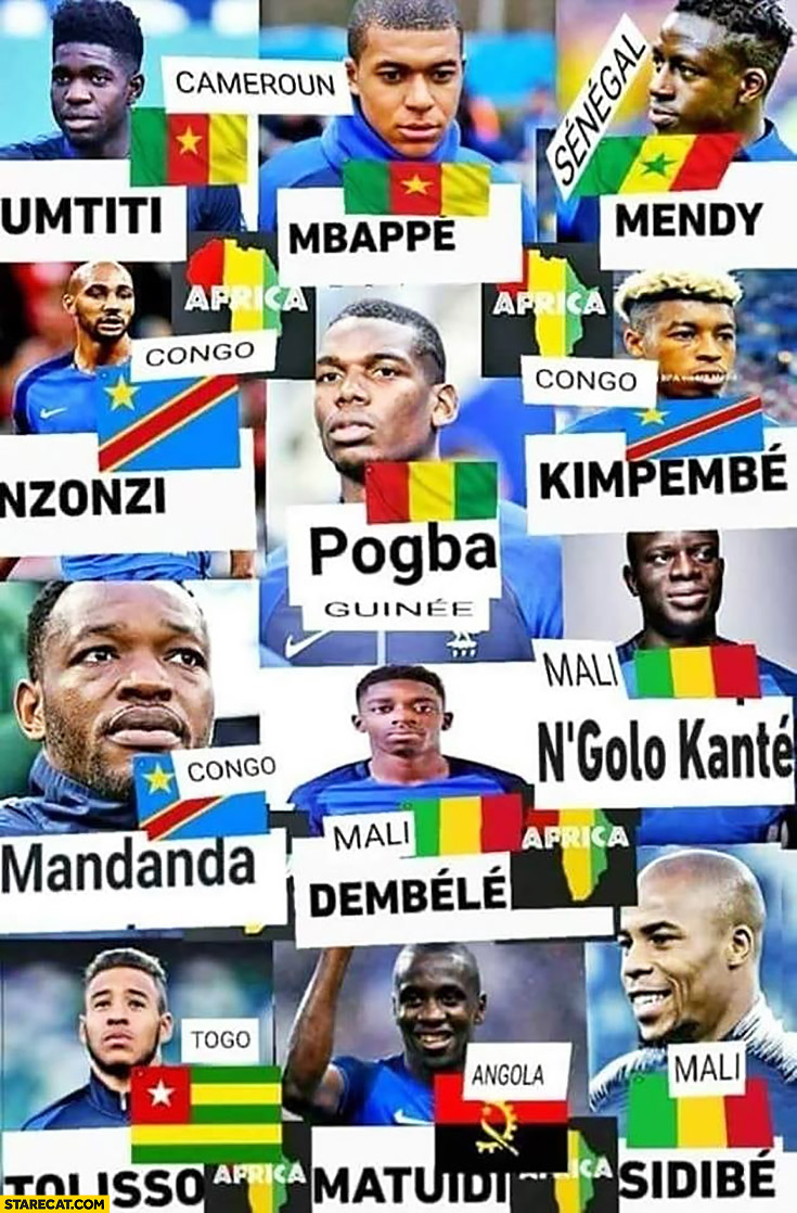 France French footballers really from Africa African countries Mbappe Mendy Pogba Imtiti Nzonzi from Congo Mali Togo Cameroun Senegal Angola