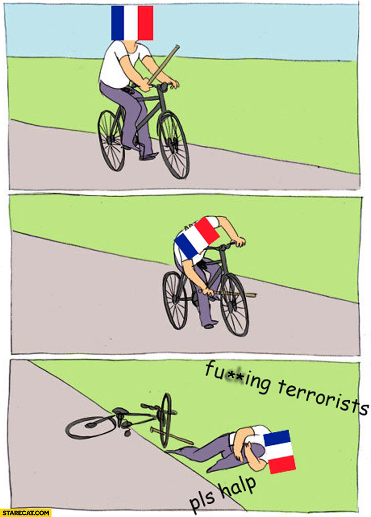 France on a bicycle comic meme terrorists please help fail