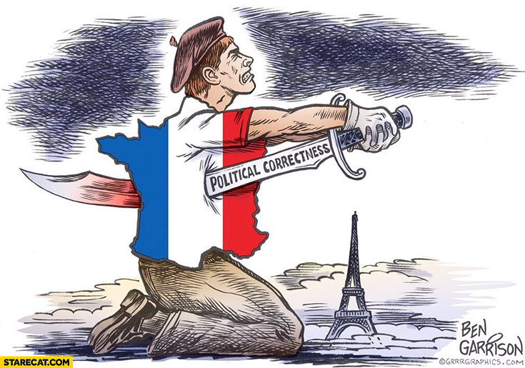 France political correctness blade suicide drawing