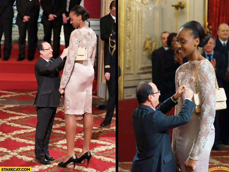 Francois Hollande giving award to tall Sandrine Gruda