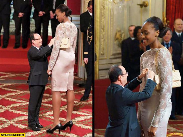 Francois Hollande giving award to tall Sandrine Gruda