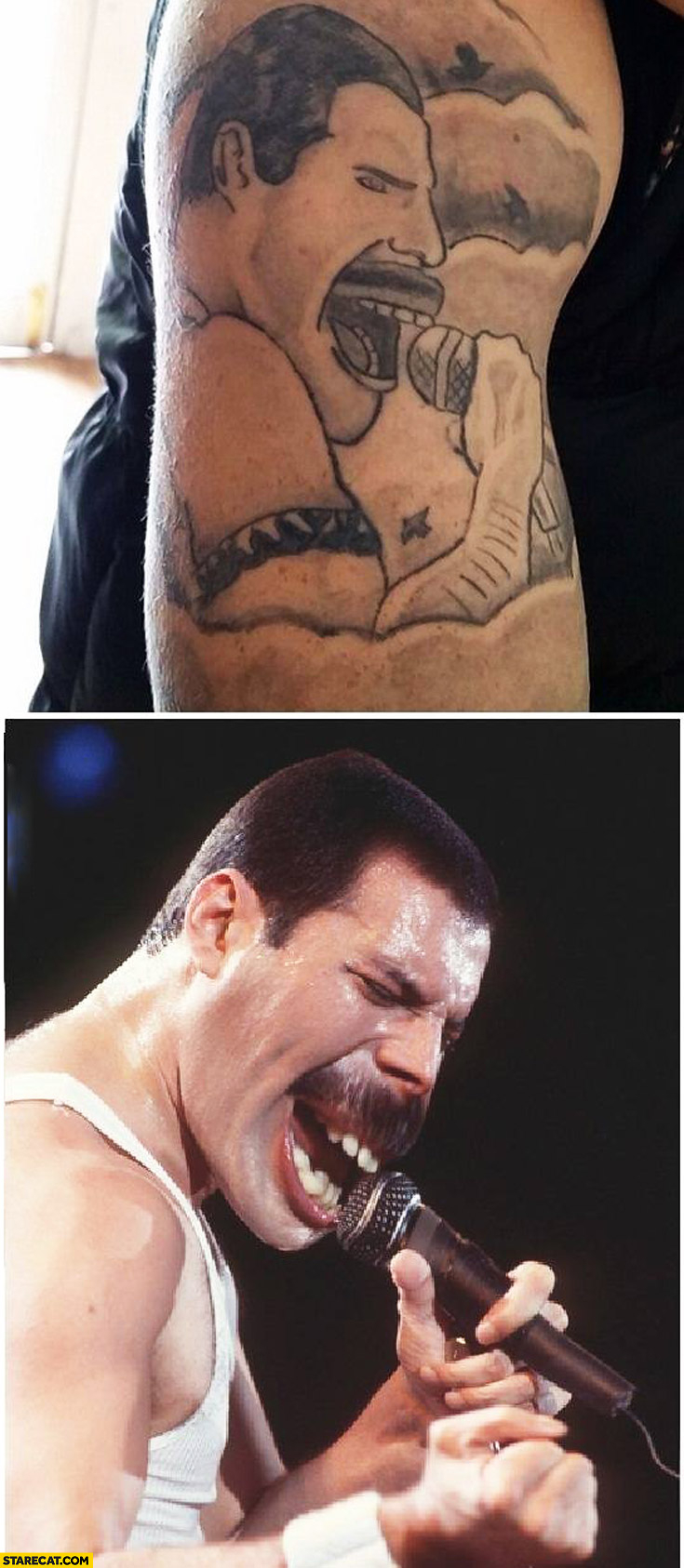Freddie Mercury tattoo fail