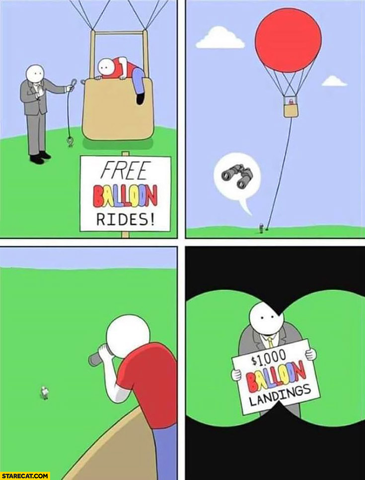 Free balloon rides, $1000 dollars balloon landings comic