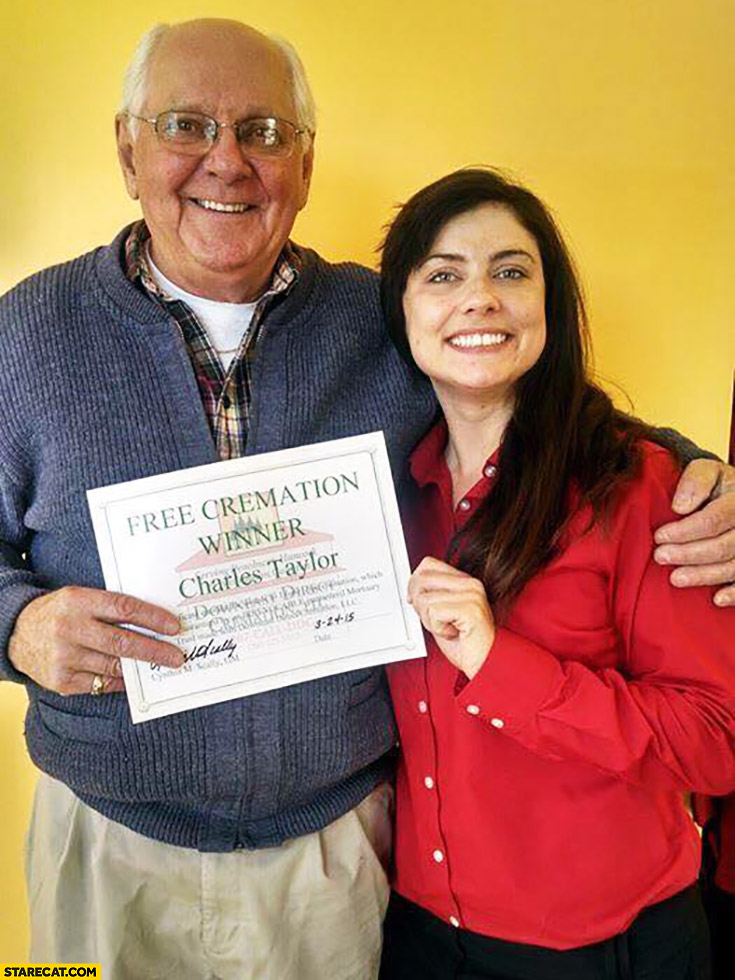 Free cremation winner happy old man