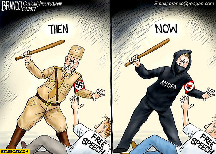 Free speech: then Nazi soldier, now Antifa no difference