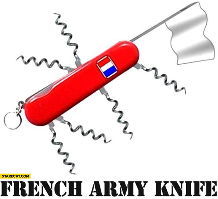 French army knife white flag