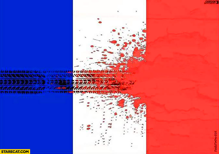 French flag skid marks blood creative graphic Nice attacks