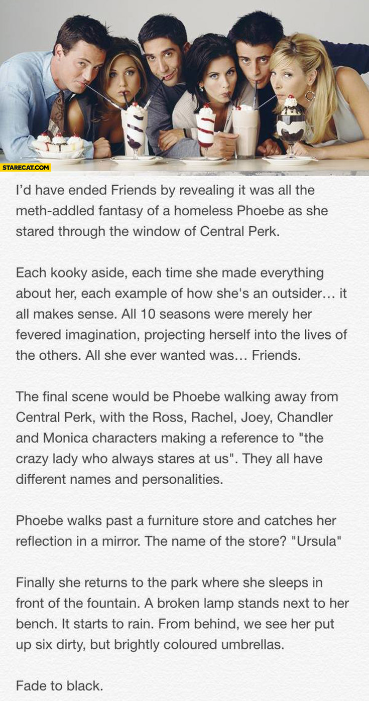 Friends TV series it was all a fantasy of a homeless Phoebe
