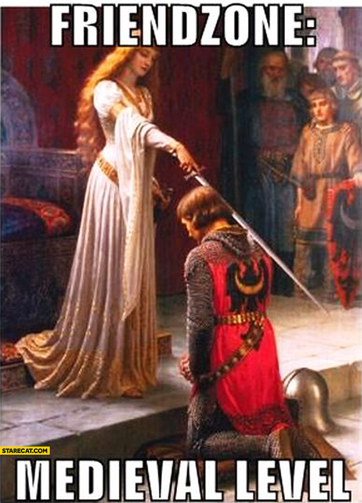 Friendzone: medieval level. Woman with sword touching warrior's arm