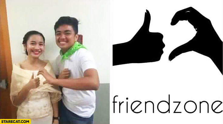Friendzone sign: half heart, half thumb up