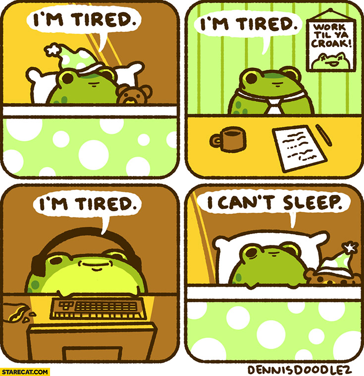 Frog: I'm tired all day long then I can't sleep at night comic