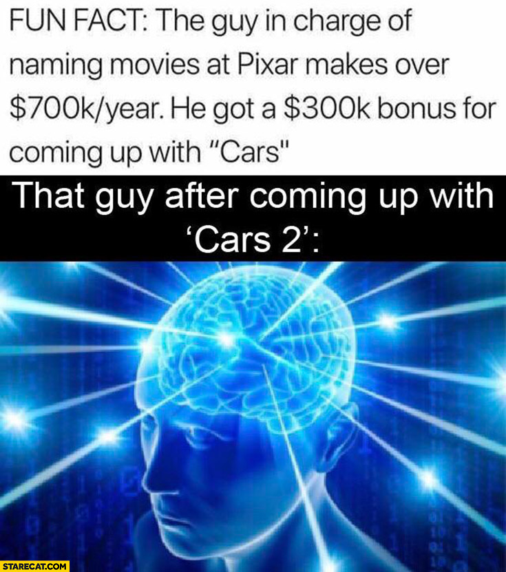 "Fun fact: the guy in charge of naming movies at Pixar makes 700k year, he's got a 300k bonus for coming up with ""cars"", that guy after coming up with cars 2 brain"