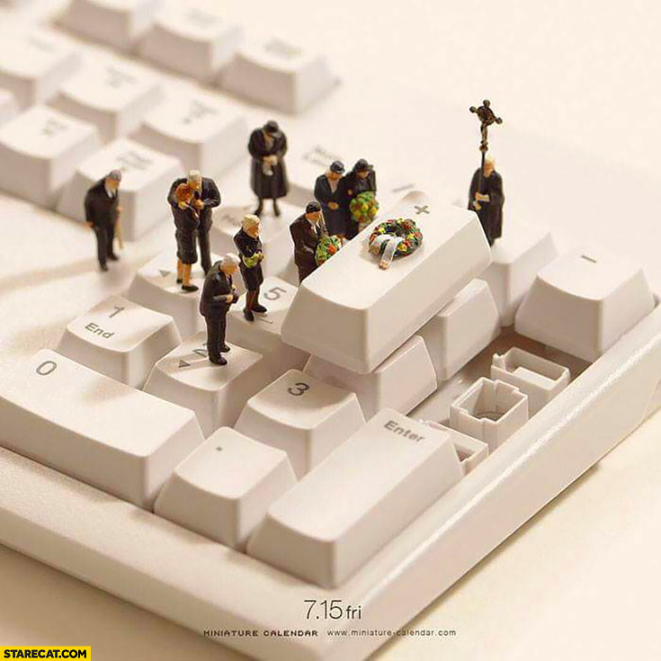 Funeral made on a computer keyboard plus key button creative image