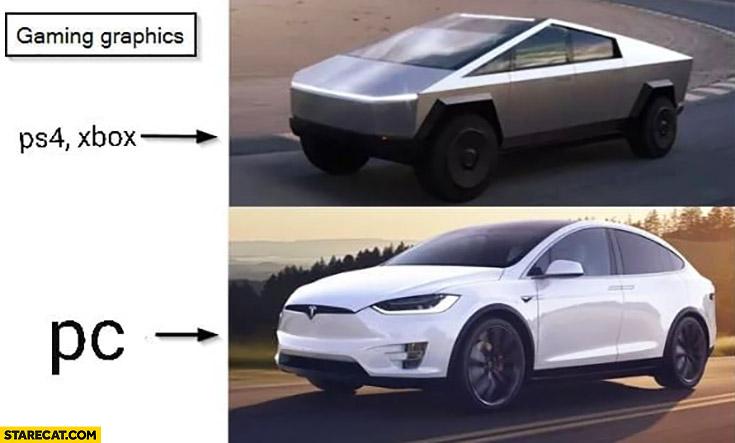 Game graphics consoles vs PC Tesla Cybertruck vs model X