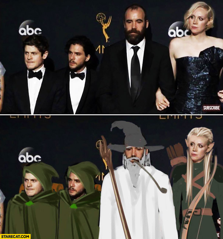 Game of Thrones characters photoshopped to Lord of the Rings characters drawing