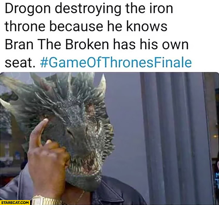 Game of Thrones Drogon destroying the iron throne because he knows Bran The Broken has his own seat