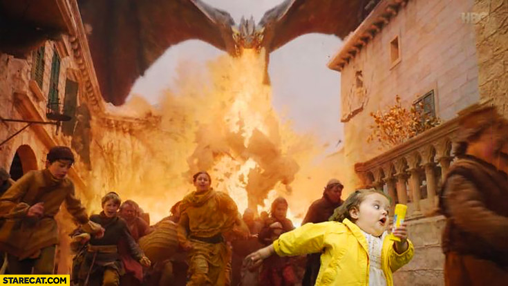 Game of Thrones people running away from dragons girl in yellow jacket photoshopped meme