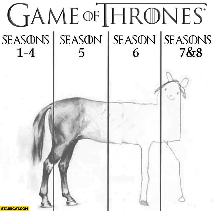 Game of Thrones seasons like drawing a horse last seasons suck are the worst