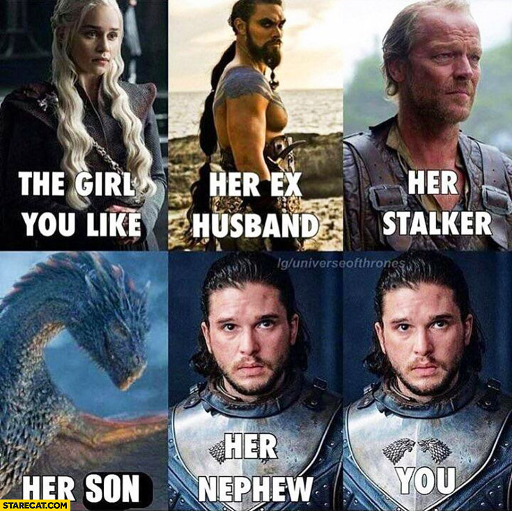Game of Thrones the girl you like, her ex husband, her stalker, her son, her nephew, you Jon Snow