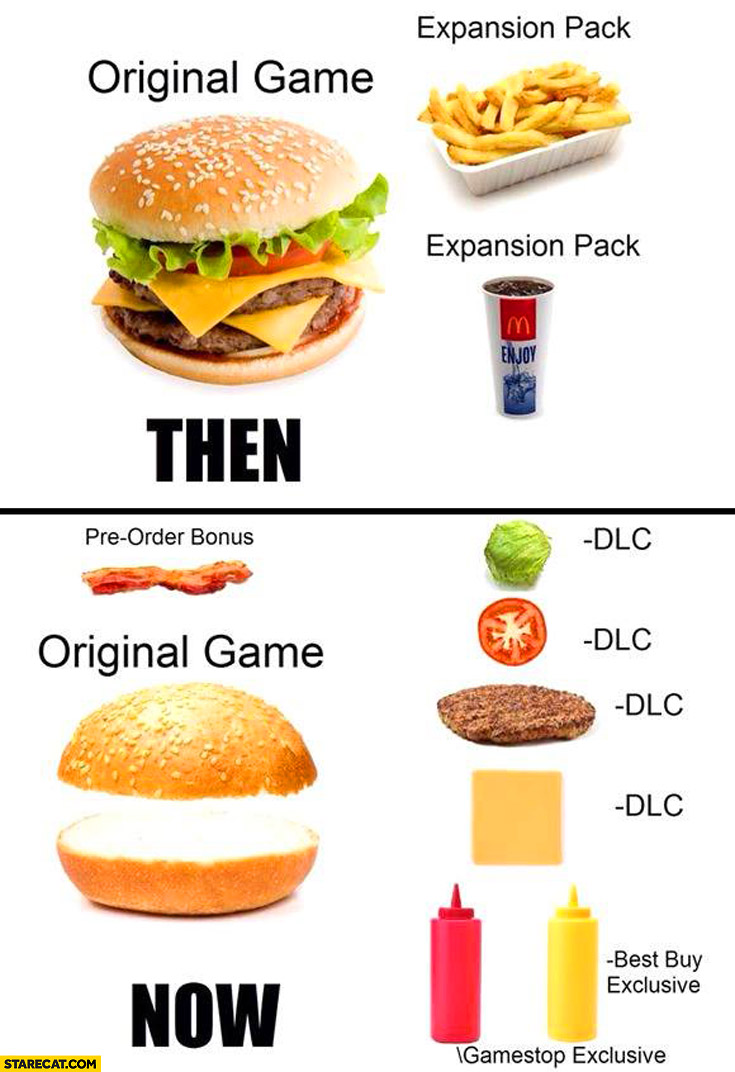 Les DLC récents et vous. Games-now-and-then-burgers-original-game-expansion-pack-dlc-content
