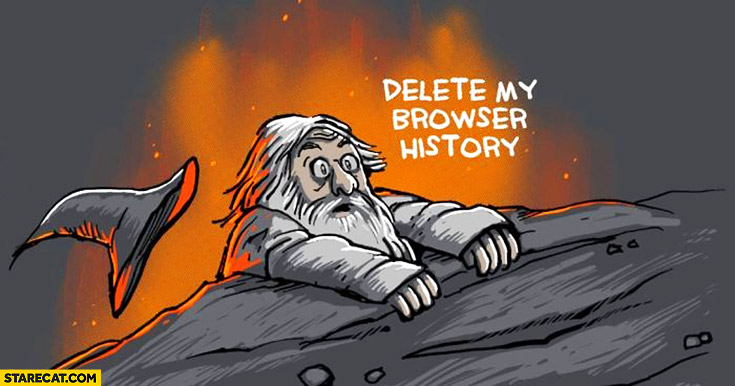 Gandalf falling off a cliff delete my browser history
