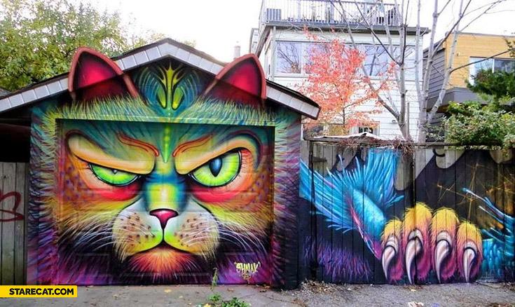 Garage graffiti cat